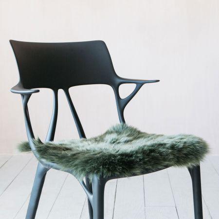 Square Moss Sheepskin Seat Pad