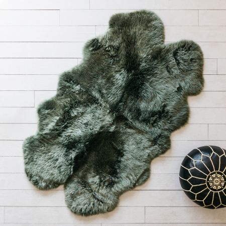 Extra Large Quad Moss Green Sheepskin