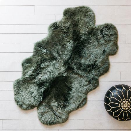 Extra Large Quad Moss Green Sheepskin