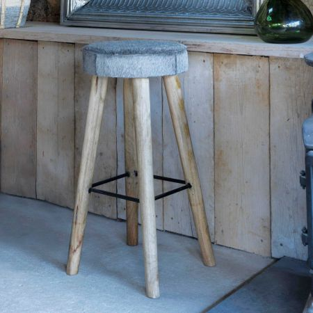 Tall Grey Round Cowhide Stool