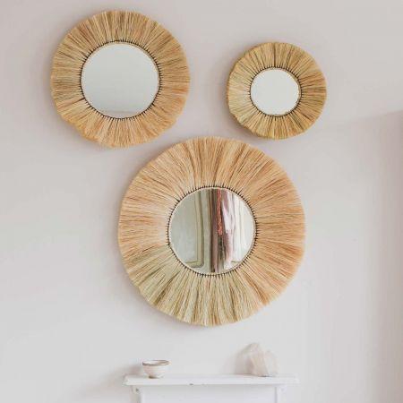 Kula Grass Round Mirrors