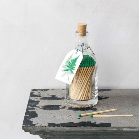 Fern Glass Bottle Matches - Thumbnail