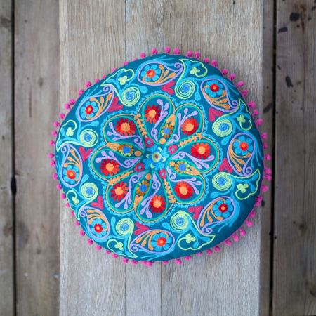 Round Teal Boho Seat Cushion
