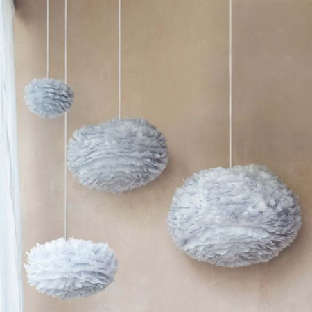 Aurora Grey Feather Pendant Shades