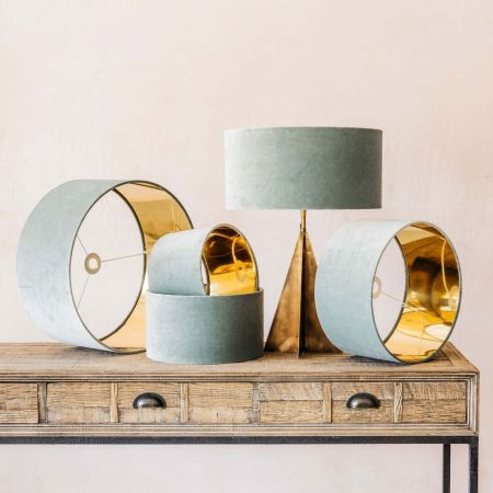 Duck Egg Velvet Lamp Shades