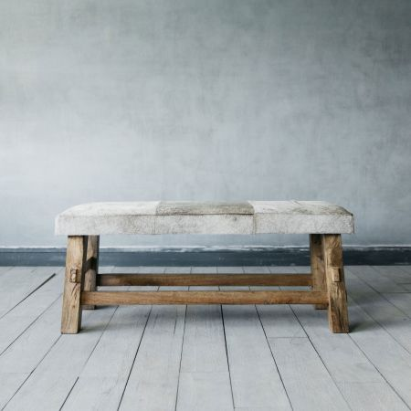 Grey Cowhide Bench