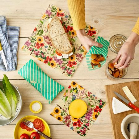 Floral Beeswax Wrap Lunch Set