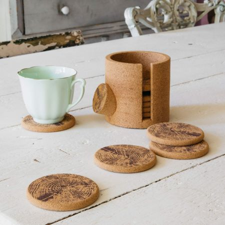 Set of Ten Cork Log Coasters