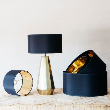 Black and Gold Cotton Lamp Shades