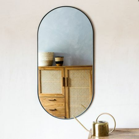 Black Metal Oval Mirror