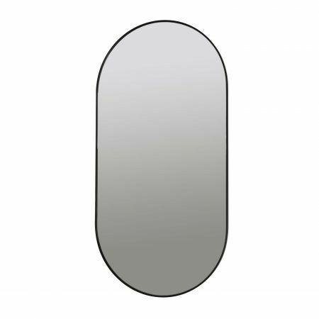 Black Metal Oval Mirror
