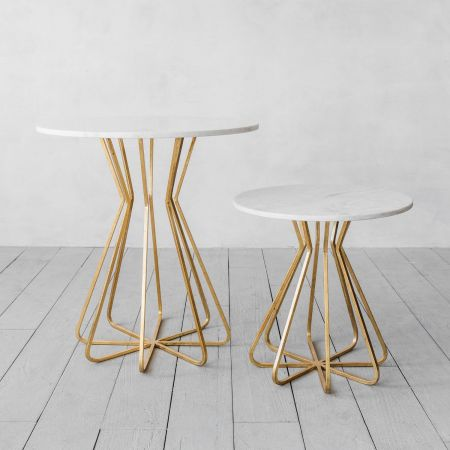 Maude White Marble Side Tables - Thumbnail