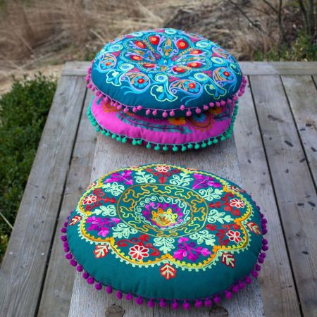 Round Green Boho Seat Cushion