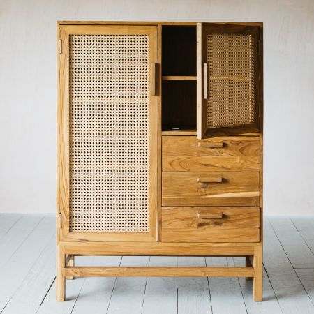 Cadance Cane Cabinet with Drawers