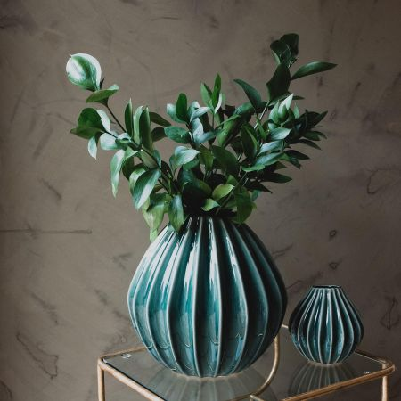 Teal Ribbed Ceramic Vases