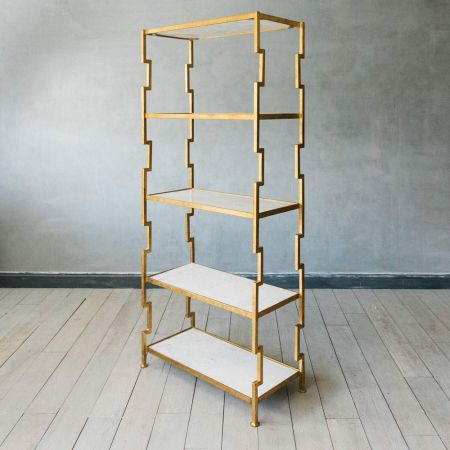 Hana Iron and Marble Shelving Unit