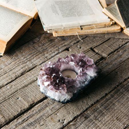 Purple Amethyst Tea Light Holder