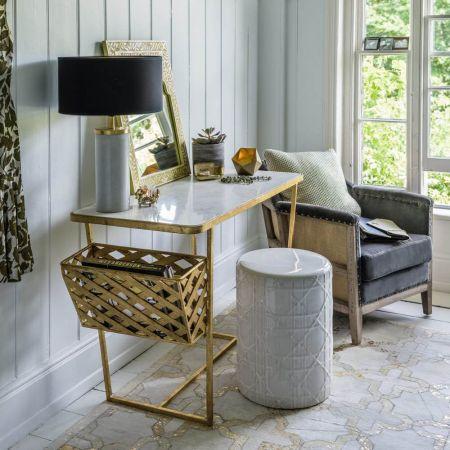 Elijah Marble Top Gold Desk With Side Basket