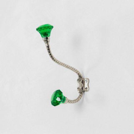Green Glass Coat Hook