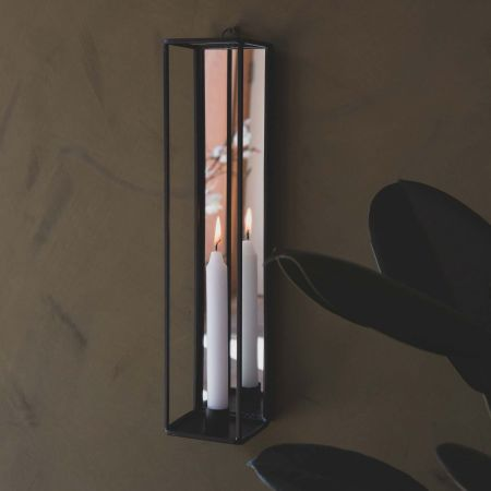 Wall Candle Holder with Mirror
