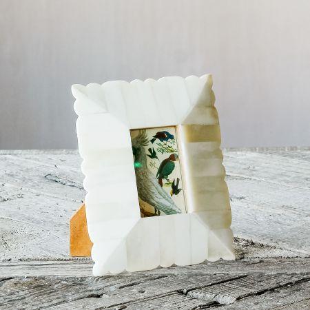 Scalloped Dome White Bone Frame