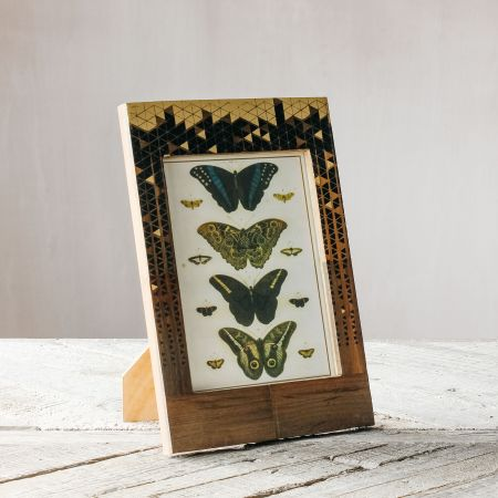 Black and Gold Triangle Print Frame