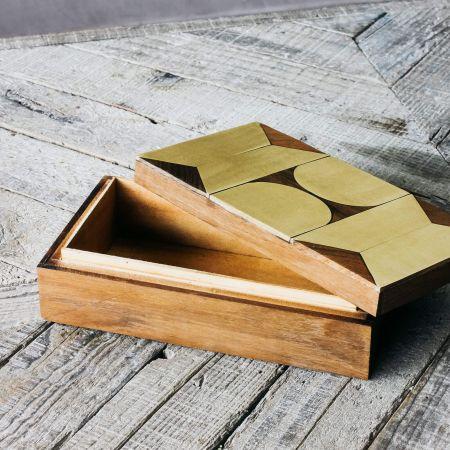 Recycled Teak and Brass Geometric Box