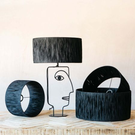 Black Raffia Lamp Shades