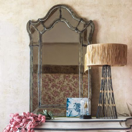 Shaped Antiqued Venetian Mirror