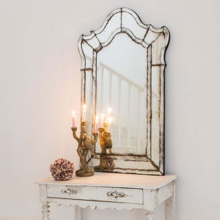 Scalloped Antiqued Venetian Mirror
