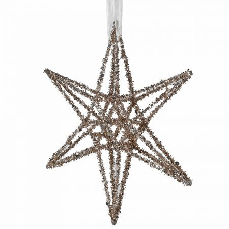 Medium Gold Glitter Star Decoration