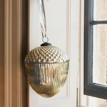 Gold Glass Hanging Acorn