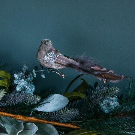 Grey Feather Bird Clip