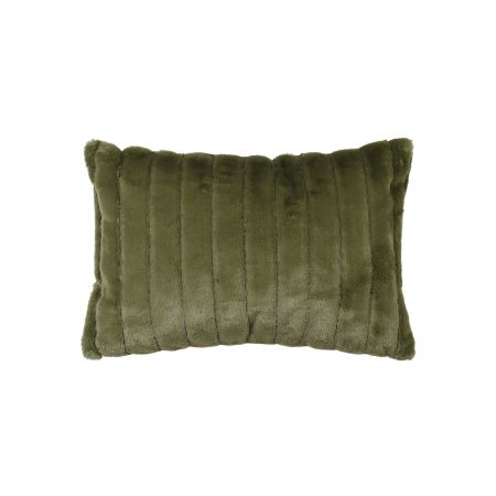 Olive Green Ribbed Cushion
