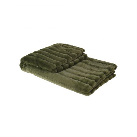 Olive Green Ribbed Throw
