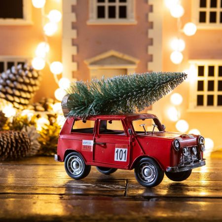 Mini Cooper with Christmas Tree