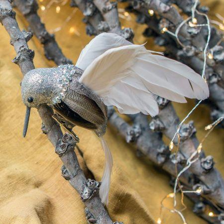 Natural and Silver Hummingbird Decoration