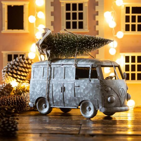 Silver Campervan with Christmas Tree