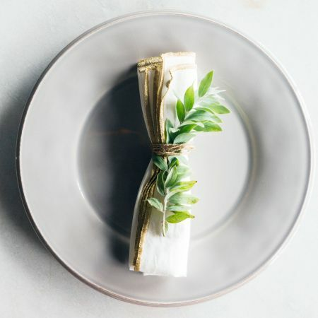 Pack of Four White and Gold Napkins