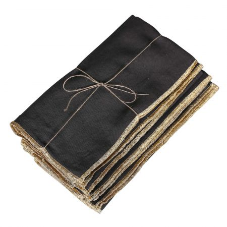 Pack of Four Black and Gold Napkins