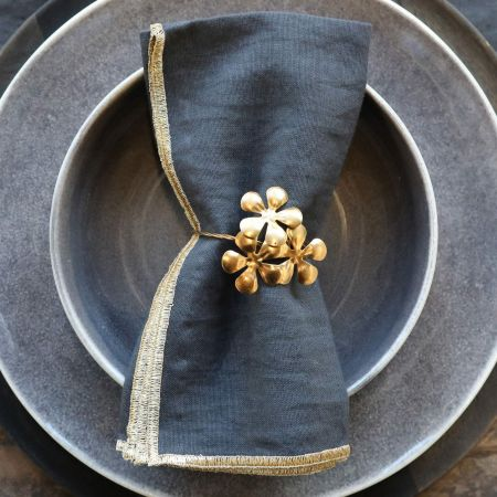 Brass Flower Napkin Ring