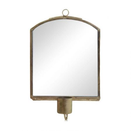 Large Antique Brass Candle Mirror