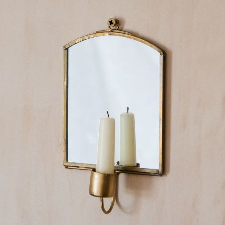Small Antique Brass Candle Mirror