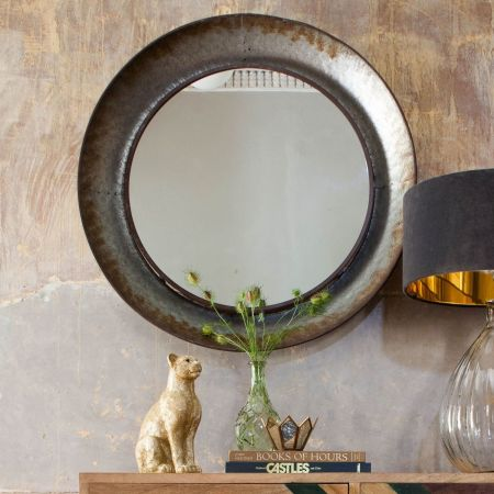 Distressed Round Mirror - Thumbnail