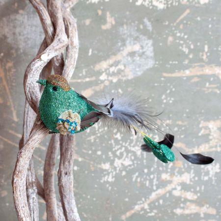 Green Feather Bird Clip - Thumbnail
