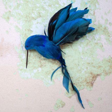 Blue Feather Hummingbird Clip