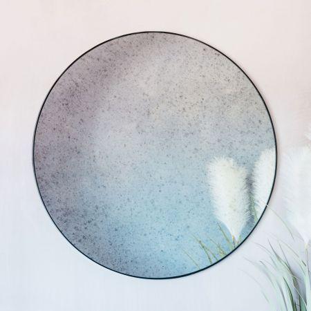 Large Antiqued Round Mirror