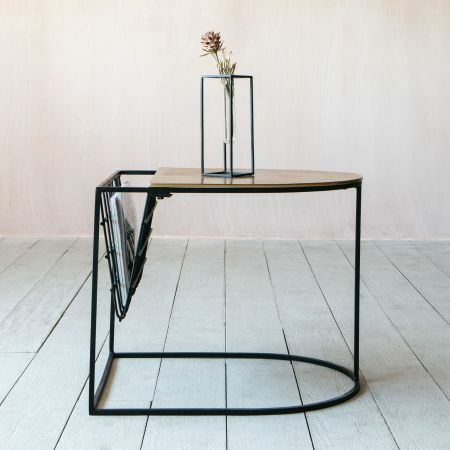 Eve Gold Side Table and Magazine Rack