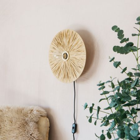 Raffy Natural Round Wall Light