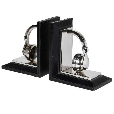 Silver Headphone Bookends